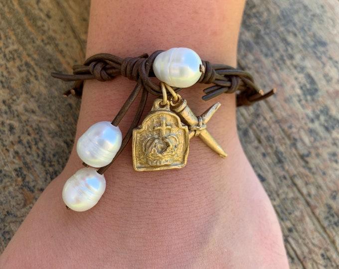 The Crown of Grace Bracelet   Dark Chocolate Leather   Religious Bracelet   Christian Gift   Jesus Bracelet   Holy Spirit   Crown of Thorns