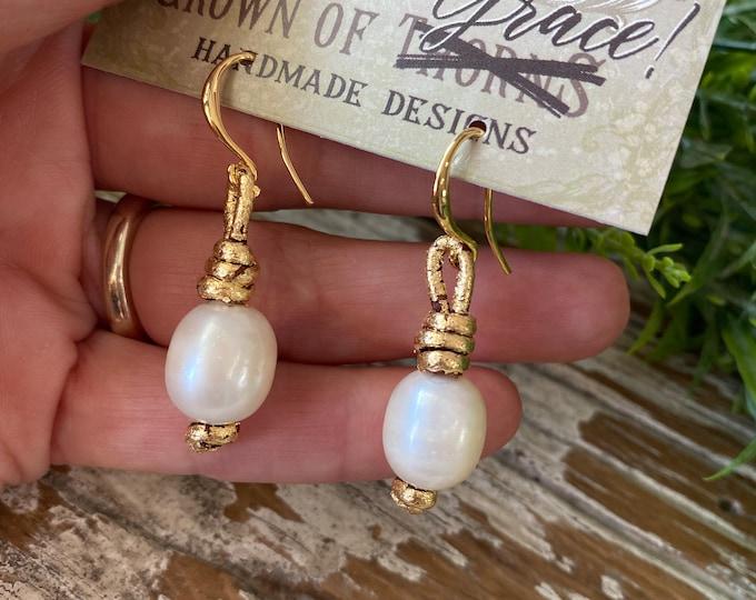 Gold Gilt Earrings | Leather and Pearl Earrings | Crown of Grace | Favorite Earrings