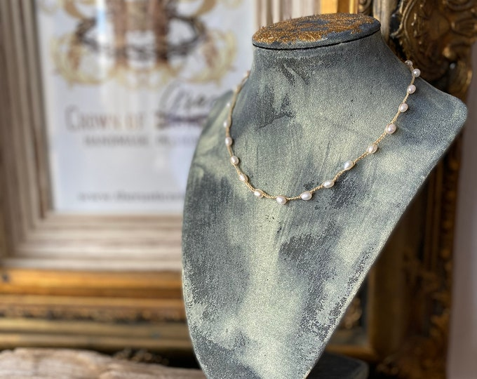 Crocheted Pearl Necklace