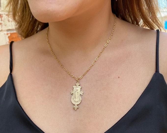 Matte Gold Necklace   Miraculous Mary   Unique   Hand Cast Gold Bronze   Antique Replica Chain
