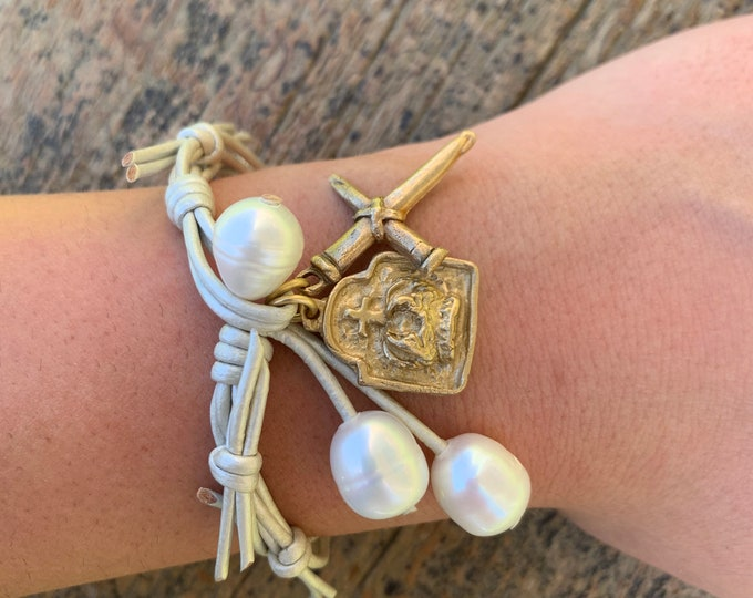 The Crown of Grace Bracelet   Metallic Pearl Leather   Pearls   Religious Bracelet   Christian Gift   Holy Spirit   Crown of Thorns