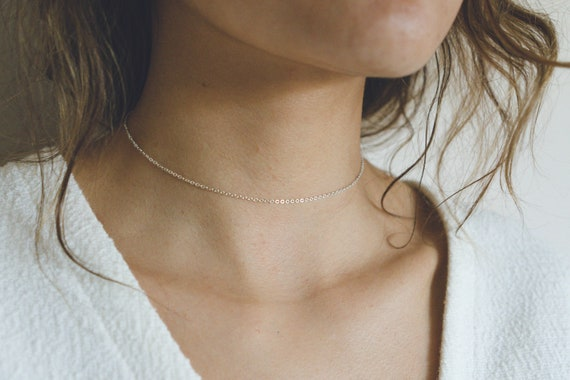 Short Silver Necklace 925 Flat Chain Necklace Silver Choker Collar Silver Choker Necklace Silver Chain Choker Sterling Silver Choker