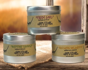 FALL SCENTS: Organic Soy Wax Candle// 100% Soy Wax// Organic scents// 6 oz tin candle// All Natural Scents