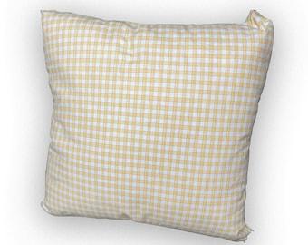 Farmhouse Style Pillow Cover ( Yellow Checked)