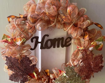 Fall 14inch Decorative Mesh Wreath