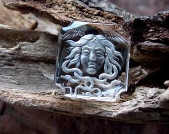 Intaglio, natural quartz. Gorgon. 21Х19Х5mm