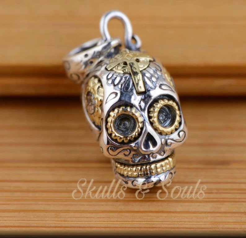925 Sterling Silver Sugar Skull Day of the dead Pendant Thai Pendant Only
