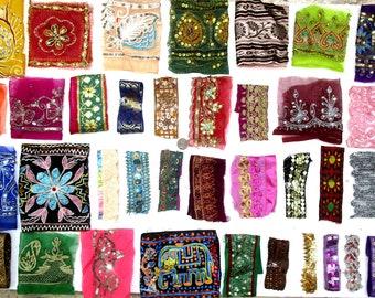 VERY RARE LOT Antique Vintage Sari TRIM LACE RIBBON 25 Pc CRAFT ZARI SEQUINS NR