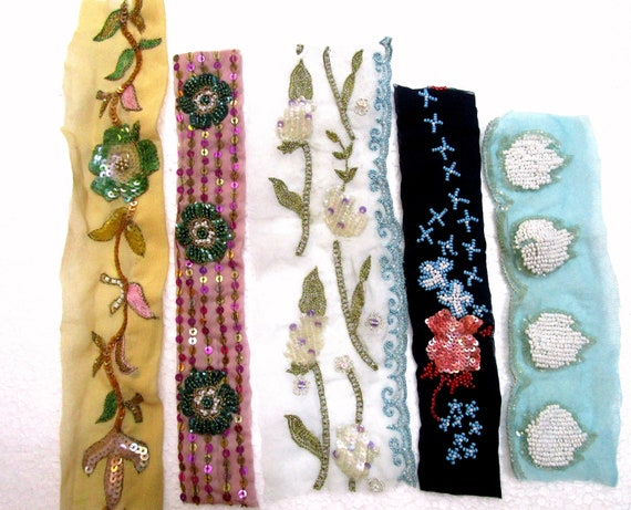 VERY RARE LOT Antique Vintage Sari TRIM LACE RIBBON 30 Pcs EMBROIDERED CRAFT