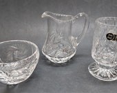 Vintage Bleikristall 24 Lead Clear Crystal Glass Sugar and Creamer Set with Glass
