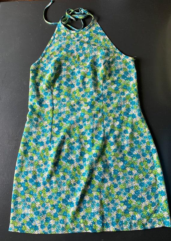 1970's Flower Power Halter Mini Dress