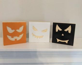 Halloween Faces Wood Blocks (Set of 3)