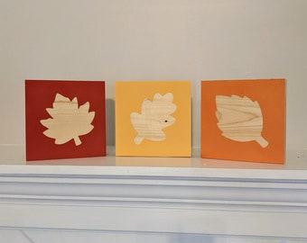 Fall Leaves Wood Blocks (Set of 3)