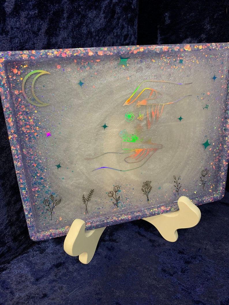 Rolling Flowers Glitter Tray Jewelry Tray Resin Tray
