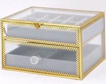 ae65cdde8 Jewelry Organizer 17 Sections 2 Tiers Metal Glass Jewelry Boxes with  Removable Velvet Divider Jewelry Tray Jewelry Box