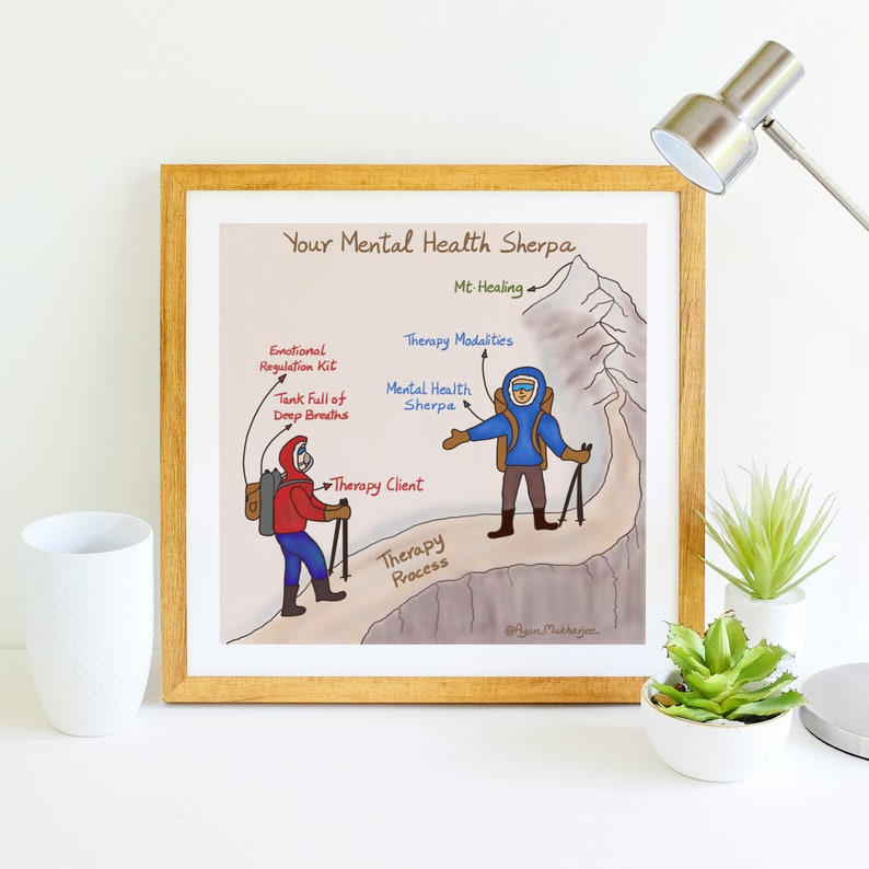 Mental Health Sherpa  Handmade Mental Health Art  Counselor image 1