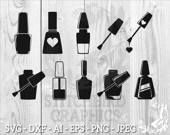Nail Polish Bundle SVG, Instant Download, Commercial Use SVG, Silhouette SVG, Silhouette Studio Cricut, Eps, Dxf, Nail Polish Clipart