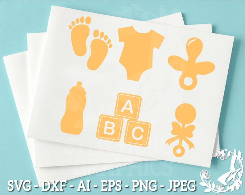 Vector Silhouette Studio Cricut Baby Feet Eps Dxf New Born Baby Clipart Baby Shower Yellow Bundle SVG Commercial Use Instant Download
