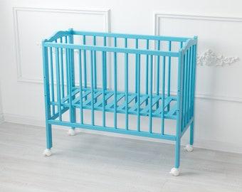 18a174be9d8a6 Baby Beistellbett 2in1 PLUS - Massivholz Buche - Holzfarbe Azur