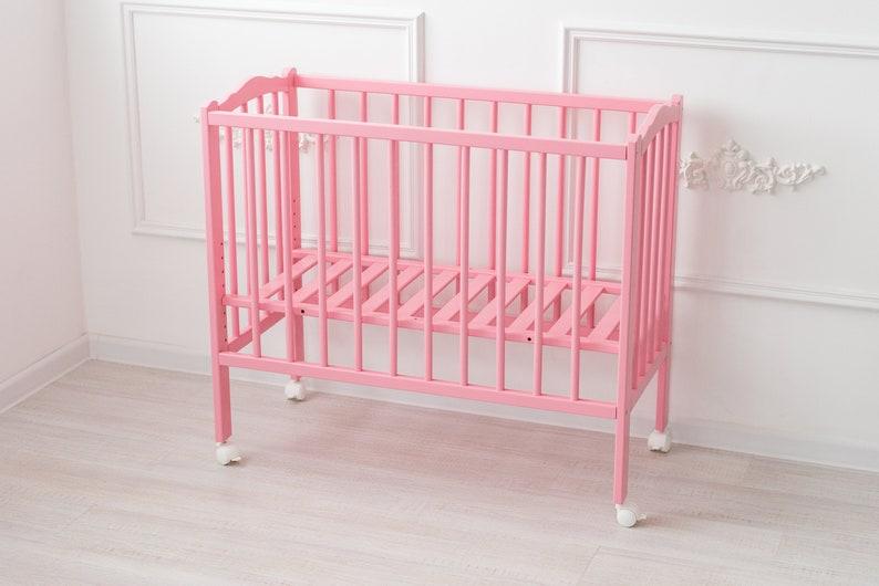 Holzfarbe Pink Rosa mit Bettset Baby Stubenwagen XXL HOME