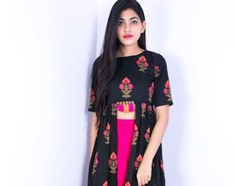 00b8f530e6 Black   Pink Tassel Indo Western Dress