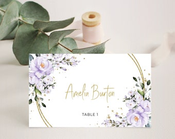 Escort Card Templett Template IN055 Flat Placecard Folded Place Card Name Card Purple /& Gold Place Card INSTANT DOWNLOAD Flat Place Cards