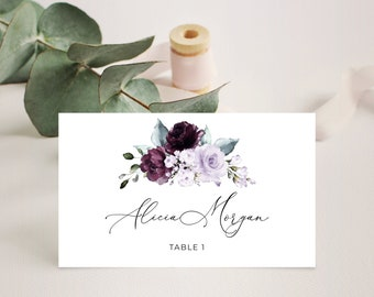 Purple Gold Floral Frame Editable Place Cards Instant Download 136-W Name Cards Escort Cards Lilac Boho Place Card Template DIY Template