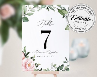 Foliage Printable Table Numbers Greenery Table Numbers Table Numbers Template Editable Instant Download Table Number Card Template #TN027 G