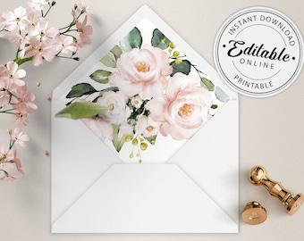 Pale Pink Blush Roses Envelope Liners Envelope Liner Templates WI107 Editable Printable File Instant Download