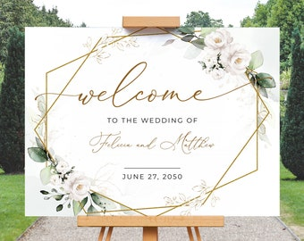 Boho Greenery Wedding Welcome Sign Template with White Roses • INSTANT DOWNLOAD • Editable, Printable Template, A109