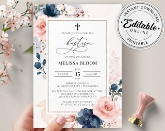 Navy Blue and Blush Pink Baptism Invitation Template, Printable First Holy Communion Invitation, Editable Template, Instant Download, A120