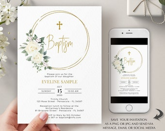 Baptism Invitation Template with White Roses, Printable First Holy Communion Invitation, Editable Template, Instant Download, A113