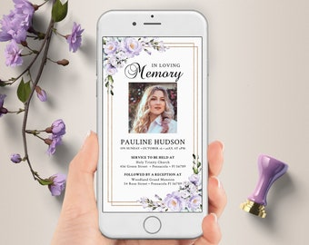 Electronic Funeral Announcement, Funeral Invitation for Smartphones, Electronic Celebration of Life invitation, Editable Evite