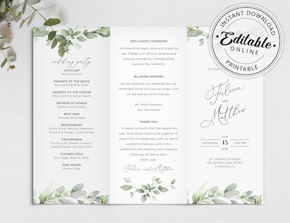Trifold Wedding Program Template With Eucalyptus Greenery Etsy