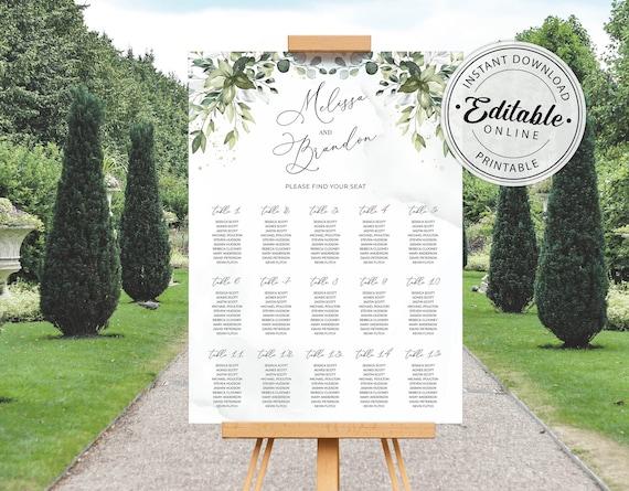 18x24, 24x36, A2, A1 \u2022 INSTANT DOWNLOAD \u2022 Editable Template #023 Boho Wreath Printable Wedding Seating Chart with Eucalyptus Greenery