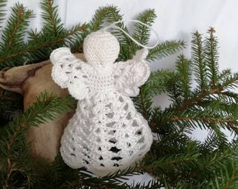 Christmas angel Crochet white guardian angel Christmas home decor Baptism ornament Table top decor Wedding ornament Christening angel