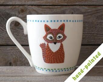 015e6219263 fox coffee mug hand painted/ fox gift/ birthday mug/ animal mug/ woodland  gift/ personalized mug/ fox lover gift/ fox coffe mug/ fox art