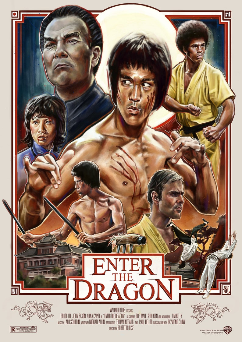 Enter The Dragon Bruce Lee Classic Kung Fu Home Decor Movie Etsy