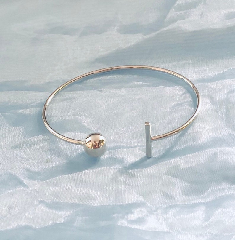 Gorgeous Cuff Bracelet with Ball and Line ends in Sterling Silver 925 Tarnish Resistant  Free Size