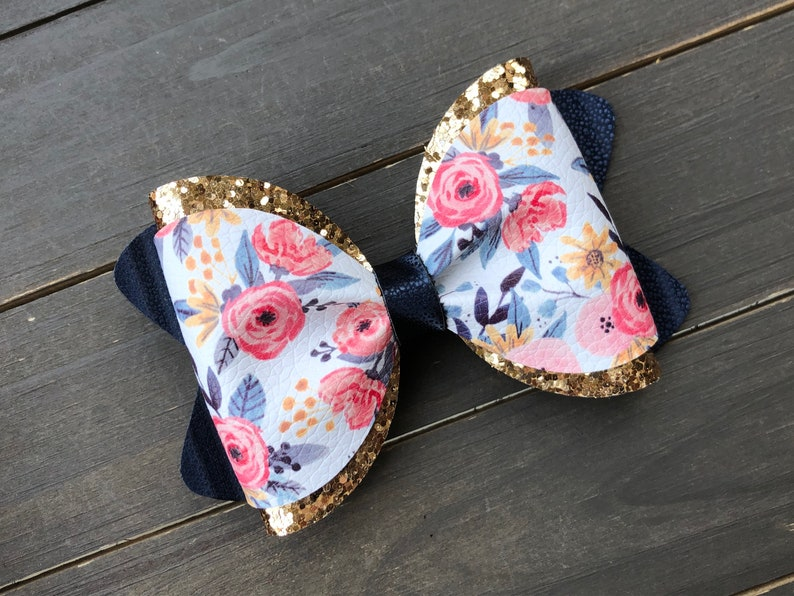 Large Double Layered Bow Mommy and Me Set Large Pink Navy Snap Clip Set Gold Floral Collection Floral Earrings