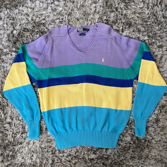 Vintage Colorful Polo Sweater
