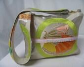 Ivory Silver Embroidered silk Obi Handbag, Butterfly Medallion Embroidered silk Obi Handbag, Vintage silk Obi Handbag