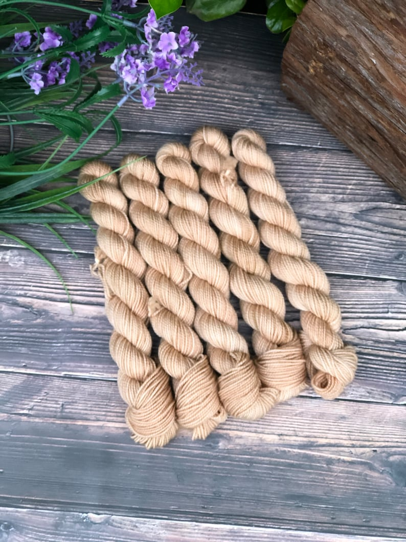 Hand dyed Mini Skeins Sock Yarn Sands of Time