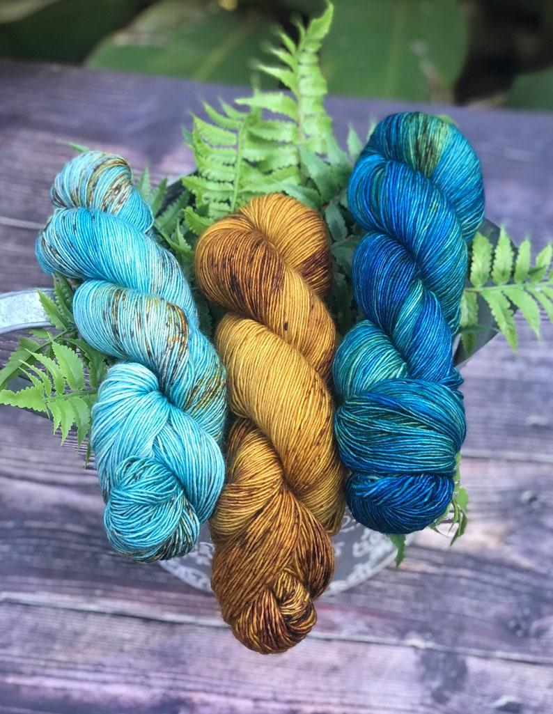 Hand dyed 100% Superwash Merino Wool Singles Fingering Yarn image 0