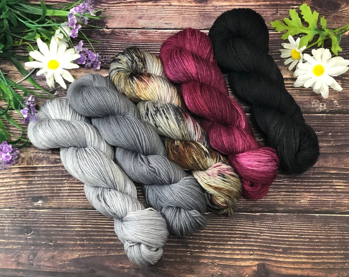 """Featured listing image: Hand Dyed Yarn """"Plumeria"""" Kit"""