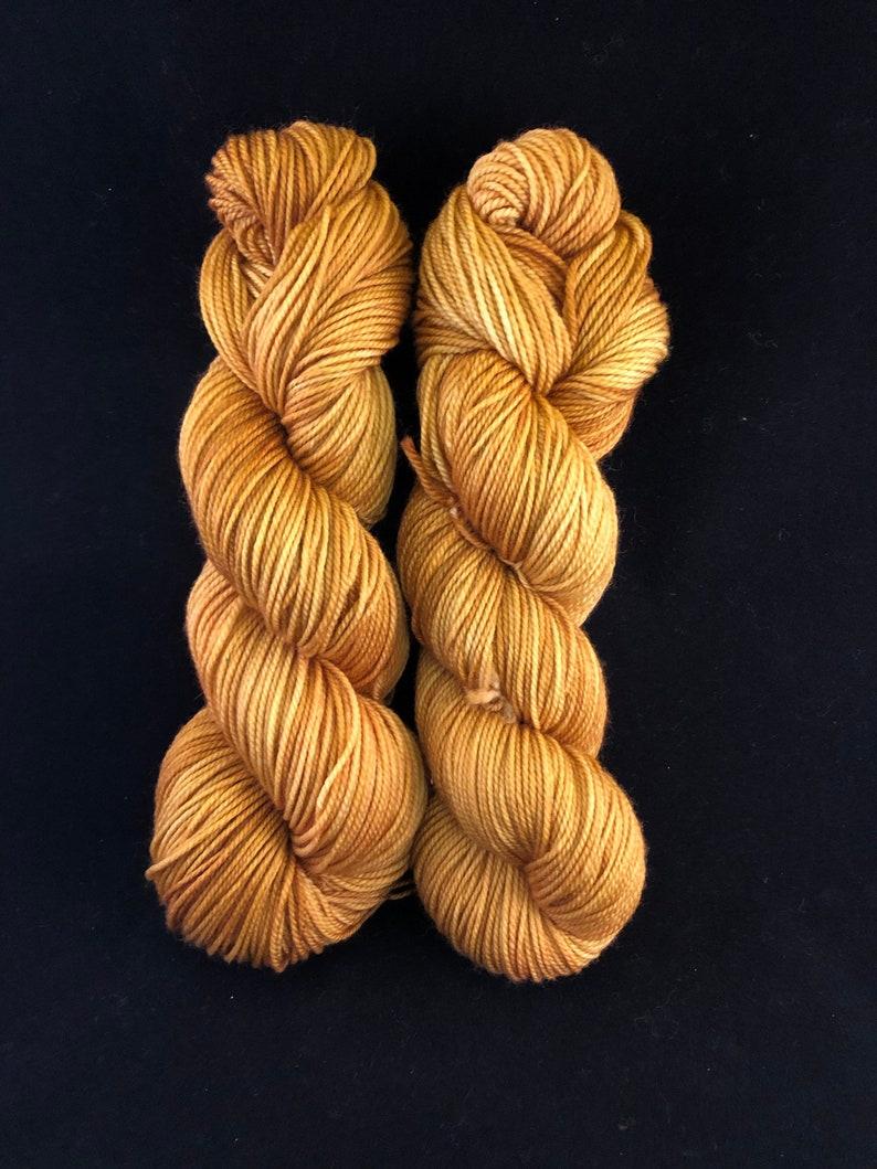 Hand dyed 100% Superwash Merino Wool DK Yarn Gold image 0