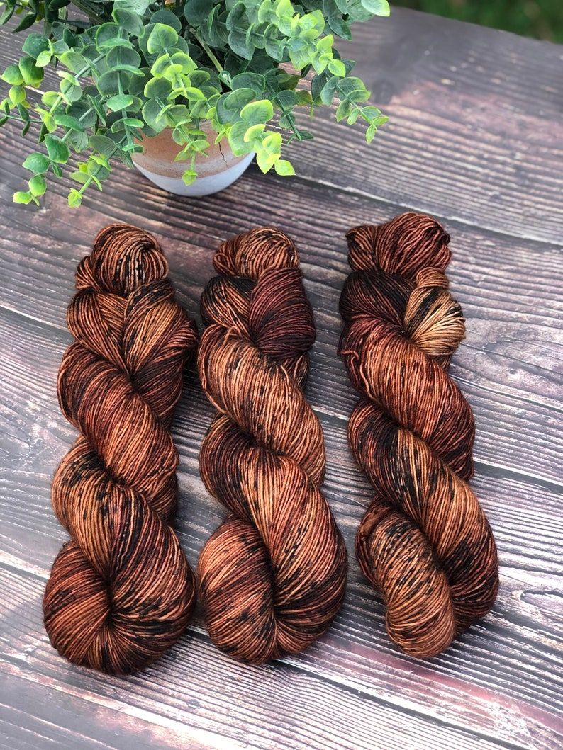 Hand dyed Singles Fingering Yarn Bark Variegated image 0