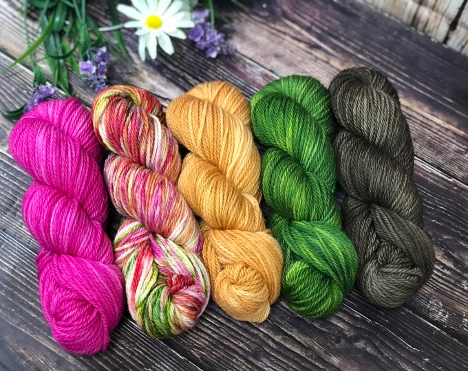 """Featured listing image: Hand Dyed Yarn """"Blossom"""" Kit"""