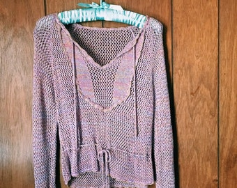 923223108786b Vintage 90 s Pastel   Gold Stitched Knit Lightweight Pullover Sweater Size M