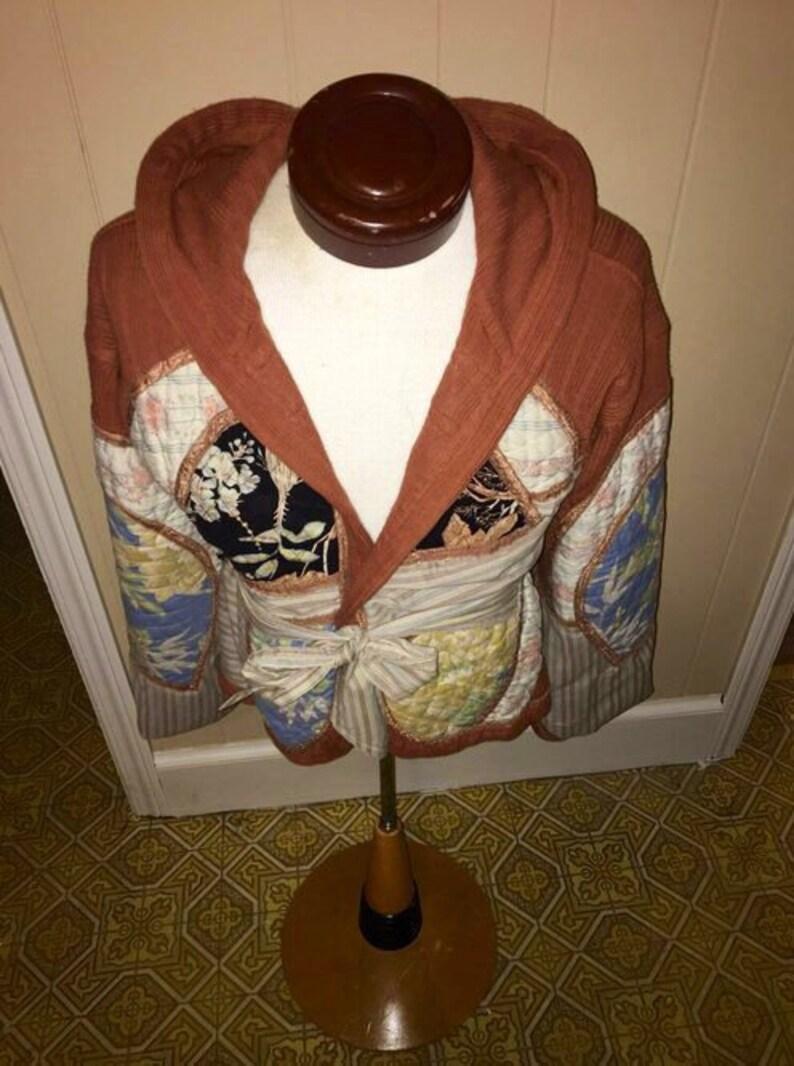 RARE Vintage 80/'s Oriental Patchwork Hooded Bell Sleeve Orange Cardigan Sweater Jacket